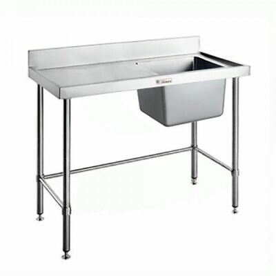 Single Sink Right Bowl w Leg Brace & Splashback 1500x600x900mm Simply Stainless