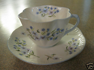 Shelley England Blue Rock Tea Cup and Saucer Dainty Shaped Blue Trim