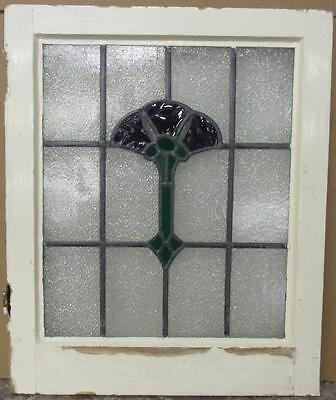 """MID SIZED OLD ENGLISH LEADED STAINED GLASS WINDOW Pretty Floral 21"""" x 25.5"""""""