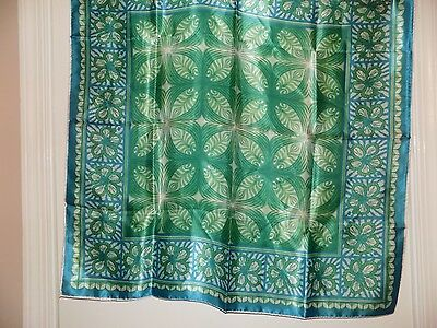 Vintage made in Japan rolled edge scarf shades of blue & green