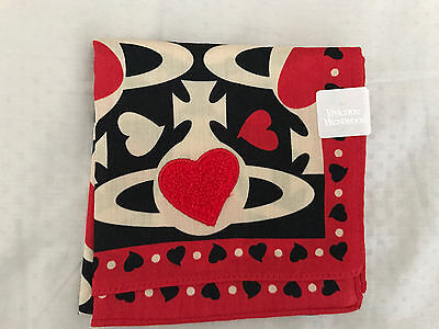 Brand New Vivienne Westwood Scarf Handkerchief Scarve Red Black Heart - LAST ONE