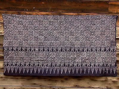Intricate Blue & White Butterfly Batik Tapestry Wall Hanging Curtain Hmong Skirt