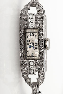 Antique 1920s 1.50ct Old French Cut Diamond Platinum Ladies Dress Watch WTY RARE