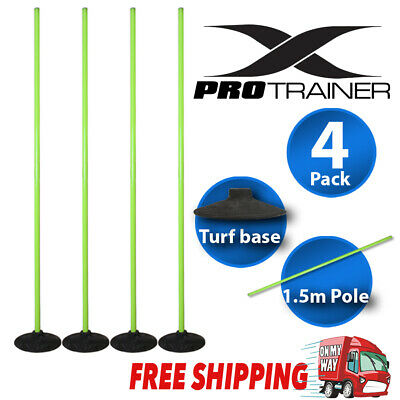 1.5m Agility Slalom Training Poles With Turf Base 1 Section Fluorescent Green 4