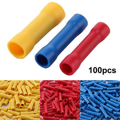 100× Set Insulated Electrical Straight Butt Connector Terminal Wire Cable Crimp