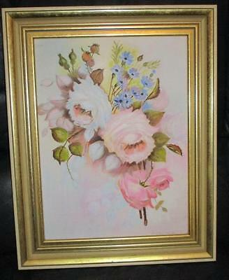 Framed Still Life Painting signed Perriman 85 Oil on Board - Roses floral