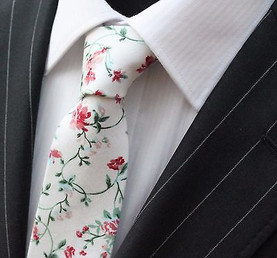 Tie Neck tie Slim White with Red Green & Blue Floral Quality Cotton T6054