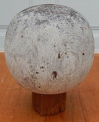 "Antique 19th C. Round Wooden Flag Pole Topper or Type Finial 6 1/4"" Diameter B1"