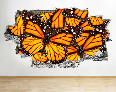 Wall Stickers Butterflies Insect Cool Hall Smashed Decal 3D Art Vinyl Room C665