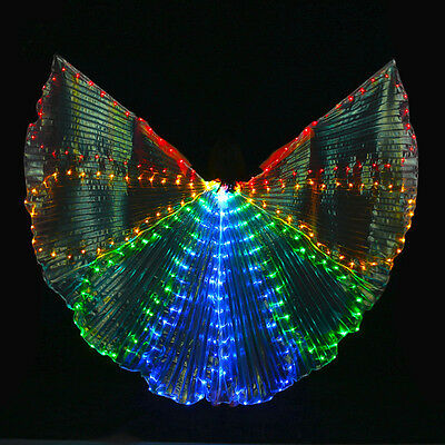 8 Slice Colored Belly Dance LED Wings Butterfly Dancer Costume Dancing Accessory