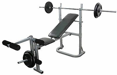 Weight Bench Leg Extension and weight Set Multi Gym 6ft Bar 40kg Cast Plates