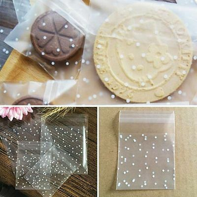 100 PCS Cookie Hot Plastic Packaging Bag White Dots Self Adhesive Seal OPP