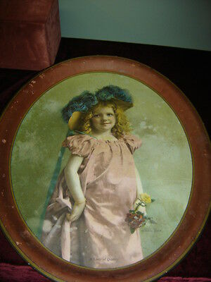 """Oval Advertising Serving Tray """"Lady of Quality"""". Copyright 1904 The Meek Co.6488"""