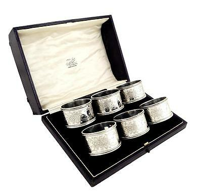 Set Of 6 Antique Edwardian Sterling Silver Napkin Rings In Case 1903
