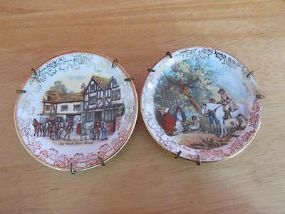 Vintage Pair of Midwinter Miniature Collectors Plates with Hangers 1946 - 1953