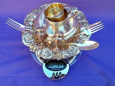 Lot Of 446 Grams Sterling Silver .925 Child Cups, Candy Nut Dish, Bowl+Utensils