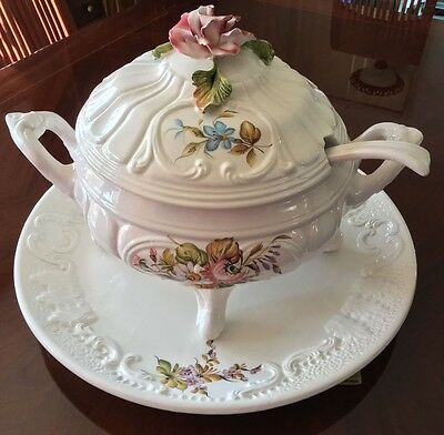 Vintage Capodimonte Footed Soup Tureen Large Plater Ladle Italian