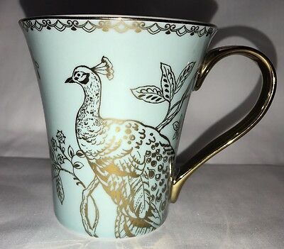 222 FIFTH •Turquoise Peacock Garden One Tea Coffee Cup Mug W/ Gold Accents