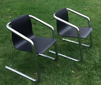Vtg Chairs Chrome Tube Molded Birch Mid Century Modern Occasional Side Office