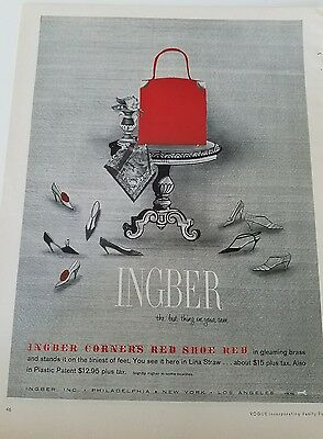 1958 women's red purse handbag by Ingber red shoe red fashion ad