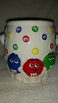 M&M's White Ceramic Utensil Holder With Red, Green & Blue Characters