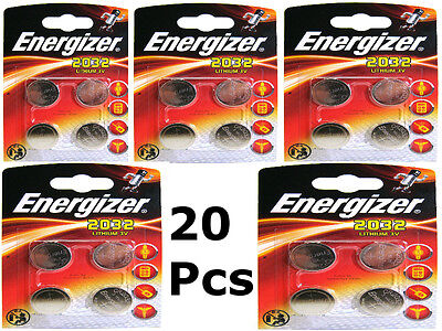 20 X Energizer CR2032 3V Lithium Coin Cell Battery 2032 With Retail Blister Pack