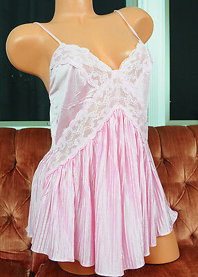 VTG Pink Satin Accordion Pleated Skirt Fancy Lace Sissy Teddy Romper Slip M L