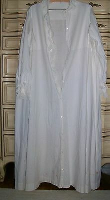 Antique 1900's White Cotton Embellished Long Night Gown Costume Re-enactment
