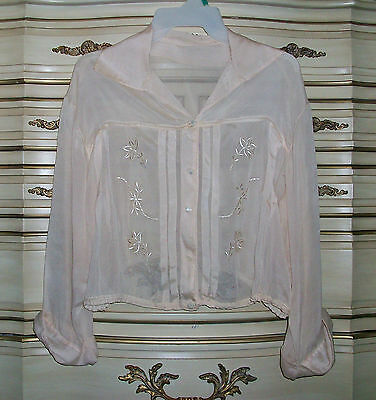 Antique 1900's Women's Pale Beige Sheer Silk Embroidered Pigeon Blouse