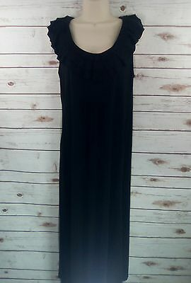Gap Black Maternity Maxi Dress Sleeveless Ruffled Scoop Neck Empire Waist Sz L