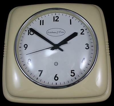 Kitchen Time Yellow Battery Wall Clock Retro Look Mid-Century Feel Easy to Read