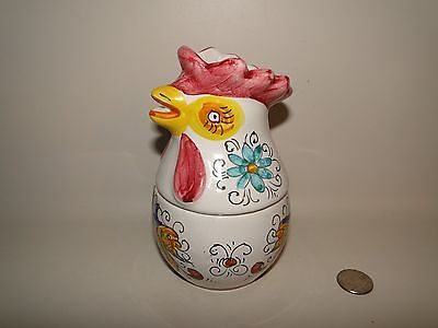 Chicken Rooster Head Italy Italian Pottery Jar,  Hand Painted,