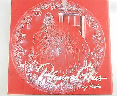 "Pilgrim Glass Large 12.5"" Plate/Dish ""CHRISTMAS MORNING"" ~ Boxed"
