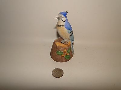 """VINTAGE BISQUE BIRD FIGURINE BELL BLUE JAY MADE BY JASCO TAIWAN, 4 3/8"""" Tall"""