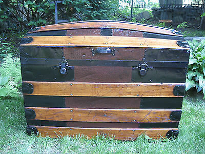 Restored 1800s Antique ALLIGATOR Dome Top Steamer Trunk Stage Coach Chest NICE
