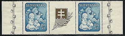 Slovakia WWII 1944 Child Welfare Christmas Issue Horizontal Pair w Label VF MNH!