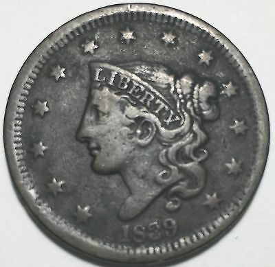 1839 Head Of 1838  Large Cent N.3