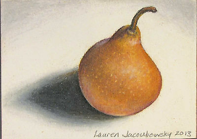 """ACEO Original Colored Pencil Drawing by L.Jacoubowsky - """"Single Pear"""""""