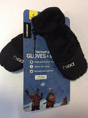 New Head Mittens Boys Size S-5/6 Thermal Fleece Black Ski Snowboard Winter Snow