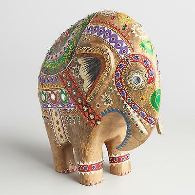 """Elephant Sculpture Colorful Wood Figurine, Hand Painted - 3.75""""W x 11""""L x 10""""H"""