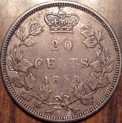 1858 Canada Silver 20 Twenty Cents In Great Condition !!
