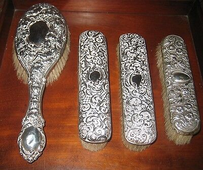 ANTIQUE ART NOUVEAU STERLING SILVER REPOUSSE BRUSHES c 1899-1911 ENGLISH