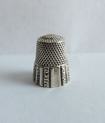 Antique Waite Thresher Sterling Siilver Paneled Band Thimble Sz.8
