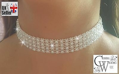 Crystal  Diamante Pearl Choker Real Rhinestone Necklace