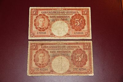 Jamaica P.37b Two 5 Shilling Notes