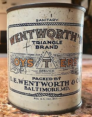 Rare Wentworths Plugtop Pint OYSTER TIN CAN VTG Baltimore Maryland Md Chesapeake