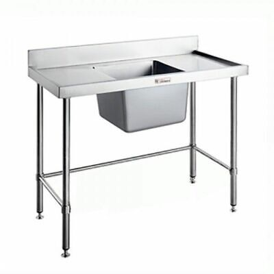Simply Stainless Single Sink Centre Bowl w Leg Brace & Splashback 1200x700x900mm