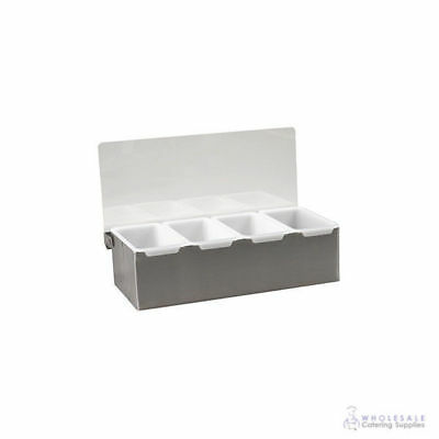 Condiment Dispenser 4 Removable Compartments Stainless Steel Base with Clear Lid