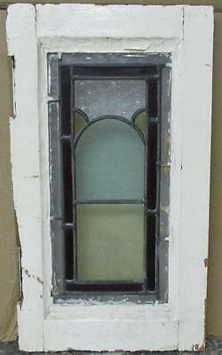 "VICTORIAN OLD ENGLISH LEADED STAINED GLASS WINDOW Simple Geo. 10.25"" x 18.25"""