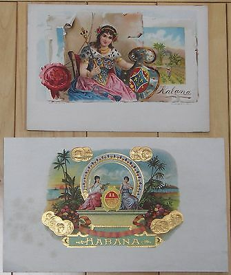 Habana embossed and not embossed cigar box labels, set of 2